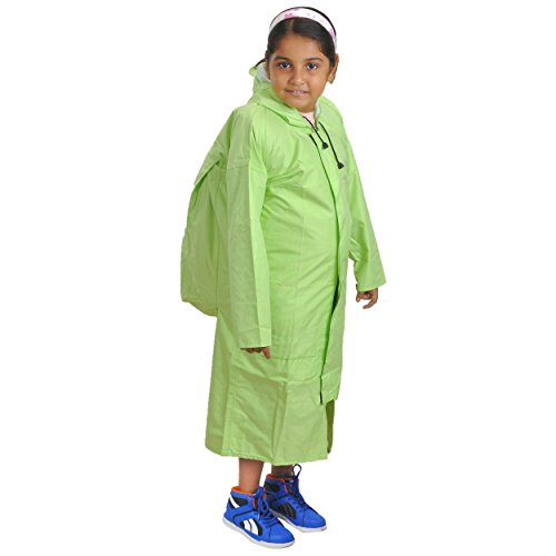 Newera Linen Rubberised Taping Raincoat for kids girls(Kids_Green_40)