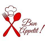 Cuisine Couverts Chef Bon Appetit Diy Wall Sticker Cuisine Muraux Affiche Vinyle Décoration Maison Stikers Décoratif Noir Decal 44 Cm X 32 Cm
