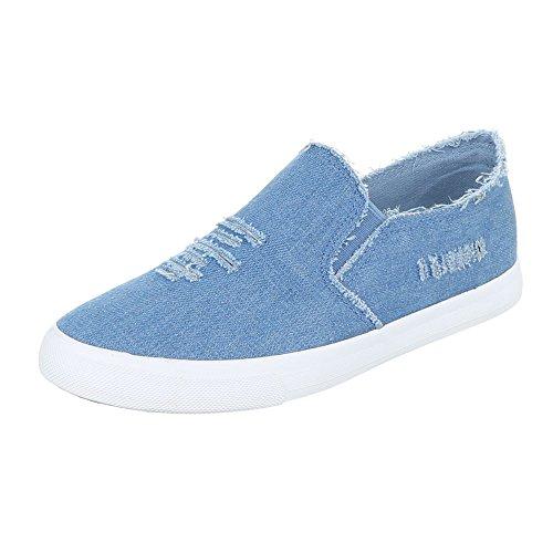 Stretch-design (Ital-Design Slipper Damen-Schuhe Low-Top Stretch Halbschuhe Blau, Gr 38, 6323-Y-)