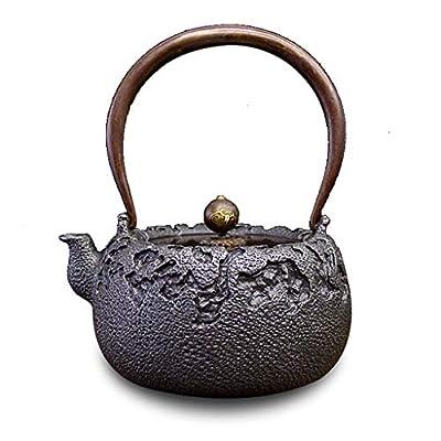 Q-HL Théières En fonte japonaises théière Bouilloire pour théière en fonte, style japonais, en fonte, Tetsubin, Théière artisanale sans revêtement rétro de qualité supérieure - 1,3 L (1300 ml)