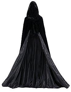 Dressvip schwarz mittelalter Umhang mit Kapuze für Herren Damen Kind Kundengröße