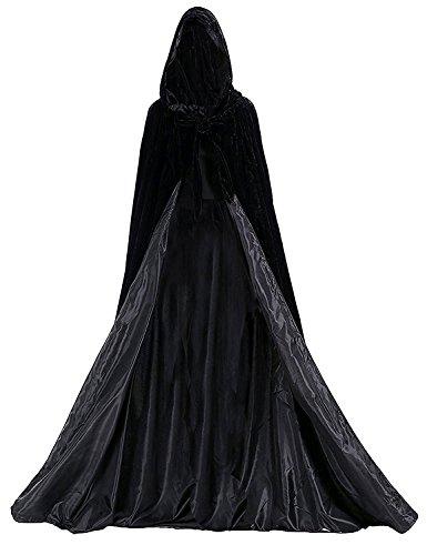 Dressvip schwarz mittelalter Umhang mit Kapuze für Herren Damen Kind Kundengröße (L, schwarz)