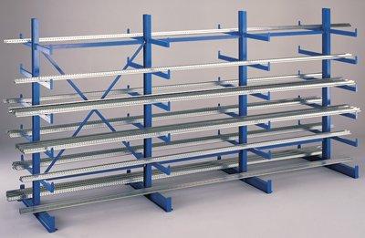 SCHULTE Kragarmregal, doppelseitig, 5 Ständer, 5 Lagerebenen je Ständerseite, BxTxH 5000x1115x2000 mm