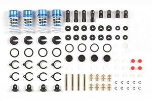 Tamiya 42102 - Juego de amortiguadores de Aluminio (4 Unidades), Color Azul y Negro