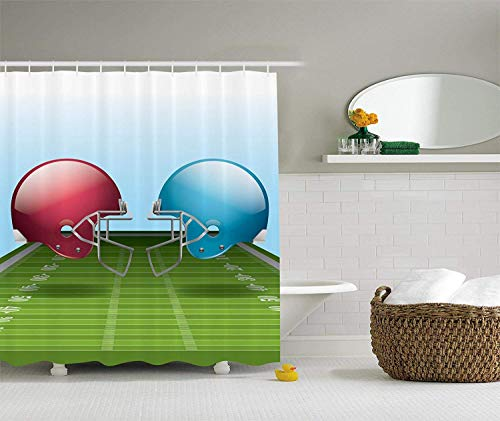 tgyew Sports Decor Green Football Field Helmets Sport Lover Game Arena Him Design Gifts for Men Polyester Fabric Man Cave Shower Curtain, Dark Coral,66x72 inches (Green Man Suite)