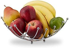Relaxdays fruitschaal, schrikhoekig, voor fruit, groenten, rooster, design keuken & woonkamer, verchroomd ijzer,...