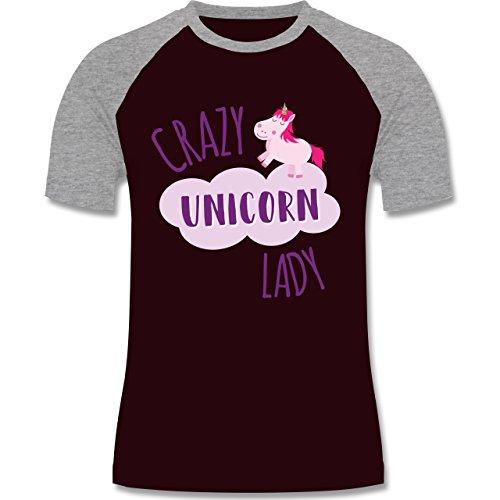 Statement Shirts - Crazy Unicorn Lady - zweifarbiges Baseballshirt für Männer Burgundrot/Grau meliert