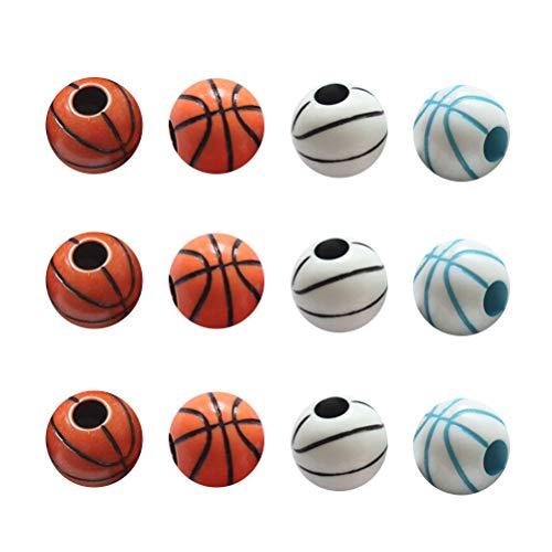Toyvian 60 Stück Bunte Muster Basketball-Perlen rund Armband Halskette Schmuck Zubehör für Heimwerker Kunsthandwerk Dekoration Grüne (gemischte Farbe)