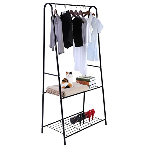 EBTOOLS Kleiderständer, Kleiderstange Garderobenständer Wäscheständer mit 2 Schichten Schuhregal, Anzug für Heim- und Bekleidungsgeschäft, 159 * 77 cm (schwarz) - 2-schicht-anzug