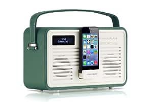 VQ (Vormals View Quest) CGDAB-8-EG Retro FM/DAB+ Radio mit Lightning-Dock smaragdgrün