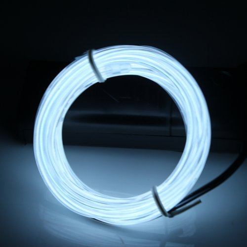 Lerway® 3M Elektrolumineszenz Neon EL Wire Rope Kabel LED für Weihnachten Party, Kostüm Rave Dekoration,Autobatterie Beleuchtung Flexibel Licht Streifen - Weiß -