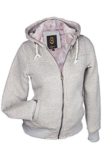 Stel4Style Felpa con cappuccio e cerniera, da donna, con rivestimento interno in pelliccia ecologica S M L XL Grigio