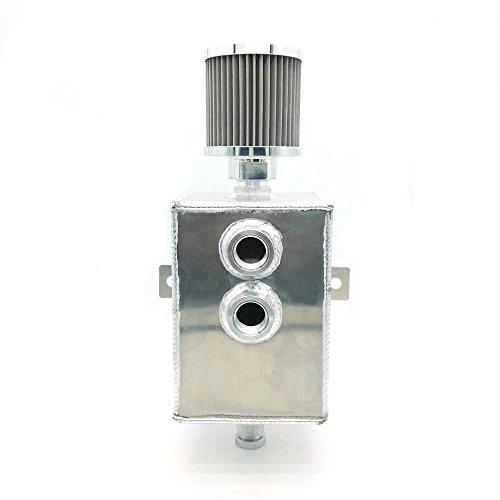 heinmo Auto Raw Aluminium 2l JDM Öl Catch können Tank Breather &-Auslaufhahn 5067 Universal (2 Liter Tank)