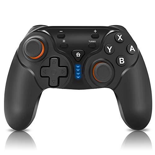MASZURE Nintendo Switch Controller, Bluetooth Wireless Controller Joystick, Wireless Gamepad mit Wiederaufladbarer Akku, DualShock und Turbo Funktionen 6-Achsen Gyroskop für Nintendo Switch/PC/Android - 20 Dual-achse