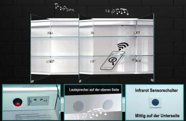 Alu Badezimmer spiegelschrank LED und Bluetooth Lautsprecher (142x70) -