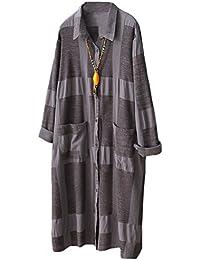 MatchLife Damen Bluse Langarm Kariertes Hemden Kleid Freizeit Langarmshirt  Leinen Longshirt Dress mit Taschen 5835dcffee