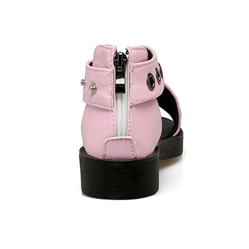 COOLCEPT Damen Mode Slip On Sandalen Kreuz Schuhe Mit Zipper Rosa