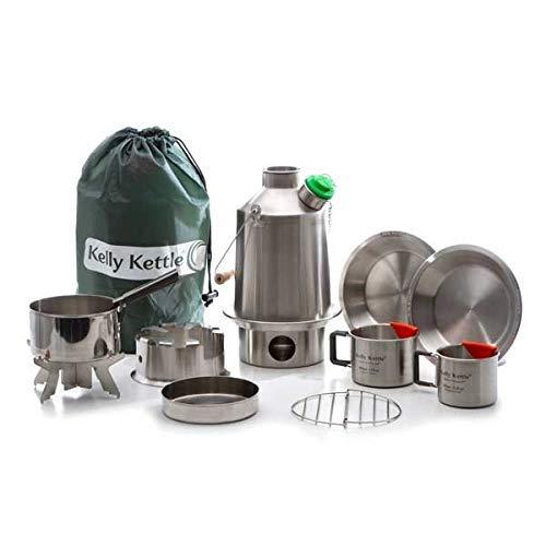Ultimativ' Scout 'Kelly Kettle Set - Wert Angebot (Beinhaltet 1.2 Ltr Edelstahl' 'Zelten Wasserkessel + Grün Pfeife+Kochset Set+Landstreicher Zelten Herdplatte + Camping Napf (2 Stück) + Platten (2 +
