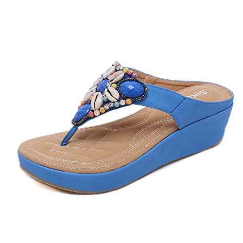 HAINE Damen Sommer Böhmen Flip Flops Plateausandalen mit Keilabsatz Peep Toe Schuhe Blau 37EU Peep Toe T-bar