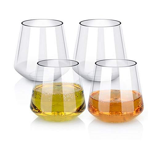 Amasawa Kunststoff Weingläser Set von 4 Rot Weißwein Stemless Glas unzerbrechlich Wiederverwendbare bruchsicher 16oz 450ml Gläser für Parteien, Hochzeiten(Quadratischer Boden) 4 Gläser