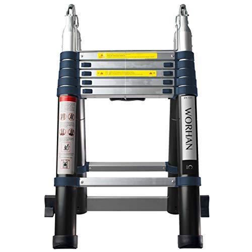 WORHAN® 3.8m Escalera Doble Telescopica PRO Multiuso Multifuncional Plegable Tijera Aluminio Anodizado...
