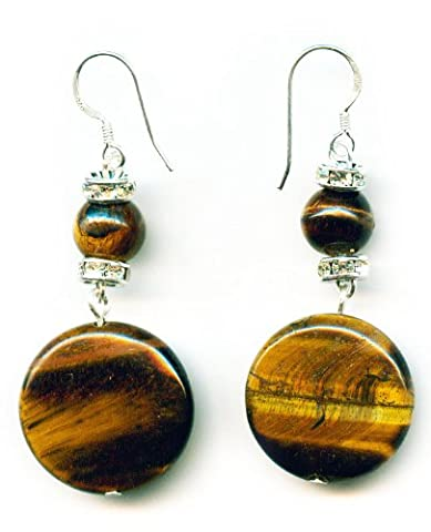 Tiger eye disc Earrings and 925 sterling silver hooks