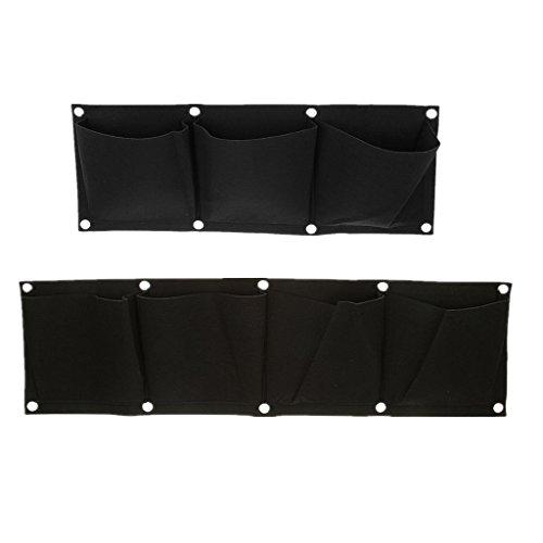 MagiDeal 3 Taschen mit 4 Taschen Hängen Horizontal Gartenmauer Pflanzer Tasche Pflanz Taschen Sack Pflanzsack Pflanztasche Indoor / Outdoor-Kräutertopf (Leichte Indoor-pflanzer)
