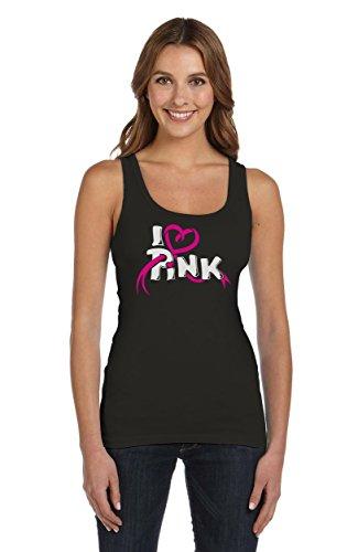 I love Pink - Symbol im Kampf gegen Brustkrebs Frauen Tank Top X-Large Schwarz (Brustkrebs Frauen T-shirt)