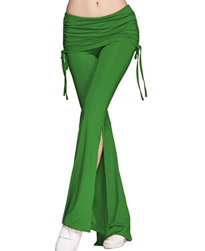 ZKOO Donne Plus Size Casual Pantaloni Gamba Larga Delle Nuove Di Modo Di Horn Pantaloni Allentati Pantaloni Verde