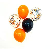 "FindFun 12"" Halloween Orange and Black Confetti Balloon Pack For Halloween Decor(Pack of 12)"