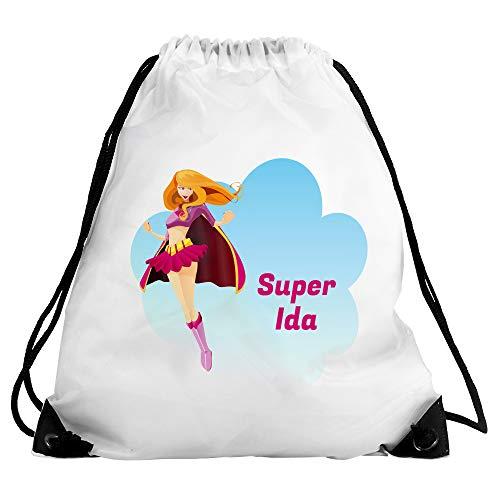 Eurofoto Turnbeutel mit Namen IDA und Motiv mit Superheldin/Super Mädchen | Sport-Beutel für...