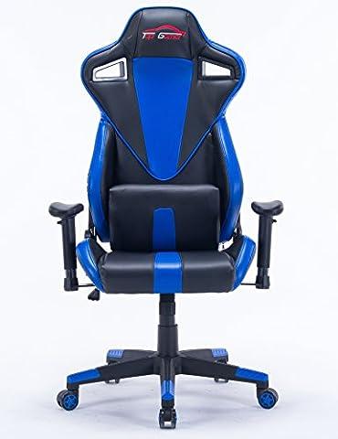 Top Gamer Chaise de jeu Chaise d'ordinateur de haut-parleur Chaise Ergonomique de course Chaise de bureau pivotante de cuir à lombaire Premium avec oreiller de soutien lombaire (Bleu / Noir)