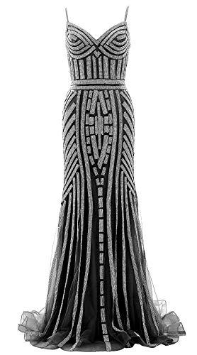 MACloth Women Crystal Beaded Jersey Long Prom Dress Mermaid Formal Evening Gown (EU40, Black) - Mermaid Pageant Kleider