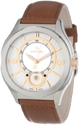 Philip Stein Men's 'Prestige' Swiss Quartz Stainless Steel and Leather Dress Watch, Color:Brown (Model: 16-FRGW-CISBR)