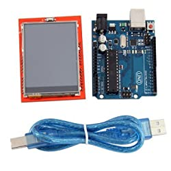 Professional 2.4 Inch TFT LCD Touch Screen Display Module + UNO R3 Development Board Set Works with Arduino - BLUE