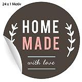 24 schicke Aufkleber für Selbstgemachtes Home Made with love, MATTE universal Papieraufkleber für Geschenke aus der Küche, Mitgebsel, Etiketten für Tischdeko, Pakete, Briefe und mehr (ø 45mm