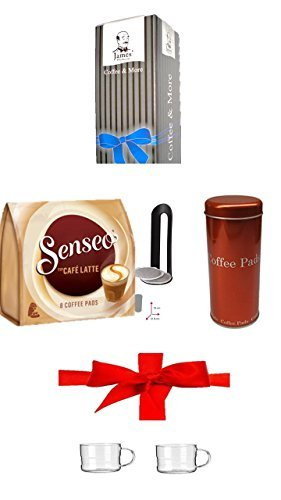 Paddose ' Metallic Orange ' + Padheber + Senseo Cafe Latte, 10 Kaffee Pads + 200ml Glastasse mit...