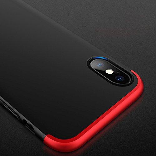 """iPhone X Coque , SHANGRUN Ultra Léger Hybrid 3 en 1 Conception PC Matériel Protictive Couvercle housse Etui Protection Case pour iPhone X 5.8"""" Or Noir+Rouge"""