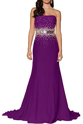 Promgirl House Damen Beliebt Satin Empire Lang Trägerlos Prom Partykleider Abendkleider Cocktail Ballkleider Lang Lila