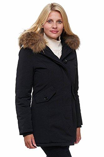 Elara Damen Winterparka | Jacke mit Echt Pelz / Echt Fell Kapuze | Designer Damenjacke | Gefütterte Outdoor Mantel | chunkyrayan XXS-XXXL Schwarz (fällt kleiner aus)