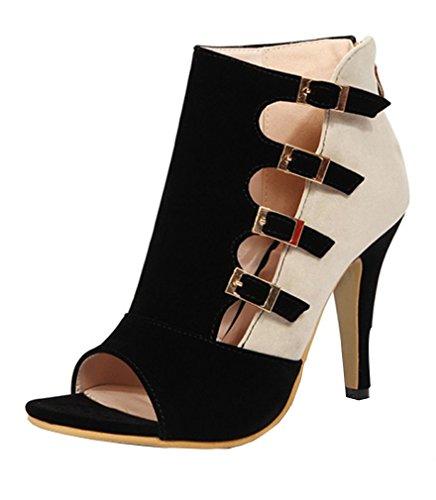 YE Damen Ankle Boots Peep Toe High Heels Sommer Stiefeletten mit Schnallen und Reißverschluss Stiletto Modern Schuhe