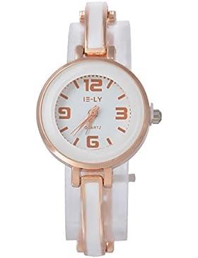 Souarts Damen Rosegold Farbe mit Strass Edelstahl Armbanduhr Quartzuhr Analog mit Batterie