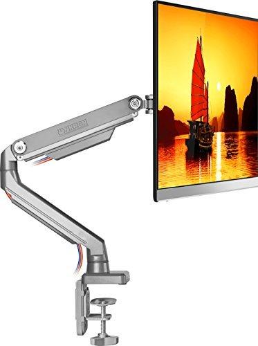 """Preisvergleich Produktbild ONKRON Monitor Tischhalterung für 17"""" - 32"""" Zoll LED OLED LCD PC Monitore Mechanischfeder Schwenkbar Neigbar Höhenverstellbar Einarm VESA bis zum 100x100 mm MS80 Silber"""