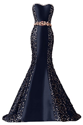 Sunvary Glamour Damen Herzform Steine Meerjungfrau Satin Abendkleider Lang  Mutterkleider Hochzeitskleid Navy