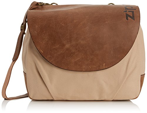 Zippo Bag Beige Washed Canvas - Leather Flap And Trim - New Zippo Bag Collection