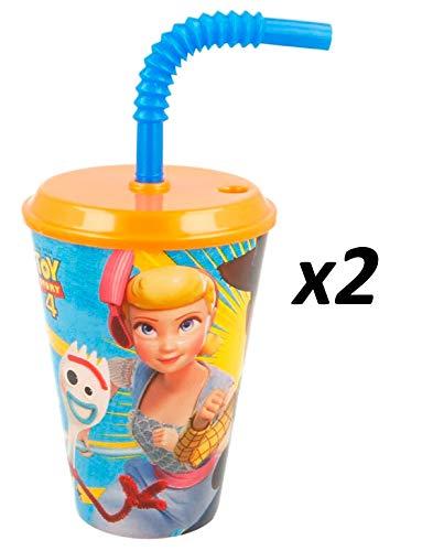 Toy Story 4 - Lot 2 Gobelets avec Paille en Plastique 430ml