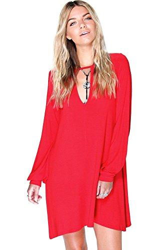 Damen Mohn Hallie Ausgestelltes Kleid Mit Einkerbung Vorn Mohn