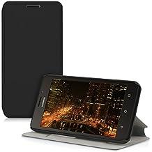 kwmobile Funda protectora completa práctica y chic carcasa con diseño FLIP COVER para una protección total de tu teléfono móvil Huawei Ascend Y635 case de color negro