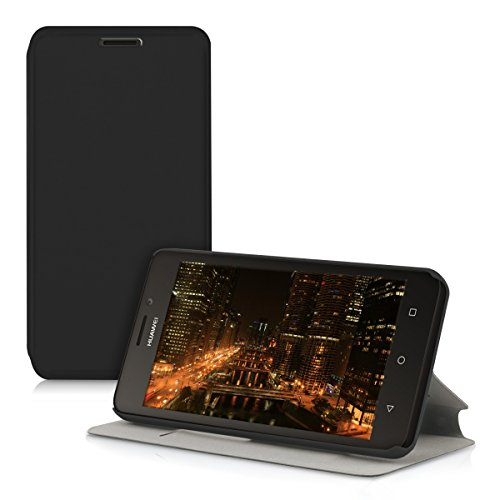 kwmobile Funda para Huawei Ascend Y635 - Carcasa [Plegable] para móvil - Case con Tapa y [Soporte] en [Negro]