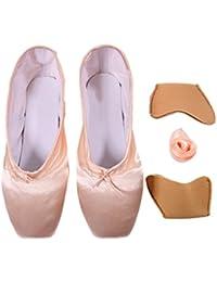 61f4b3acb DoGeek Transpirable Pointe Zapatos de Ballet Pointe Ballet Zapatillas de  Ballet de Danza Baile con Cintas